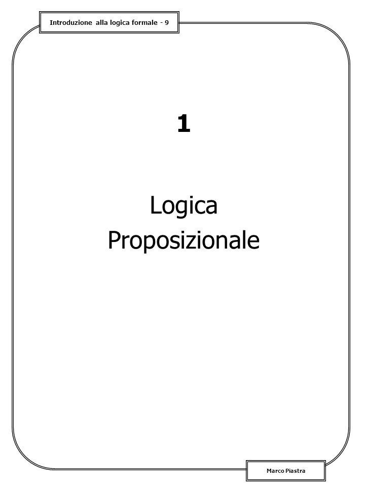 Introduzione alla logica formale - 9 Marco Piastra 1 Logica Proposizionale