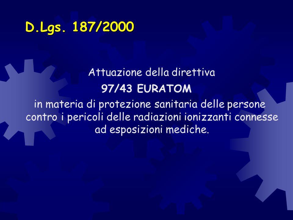 D.Lgs. 187/2000 Attuazione della direttiva 97/43 EURATOM in materia di protezione sanitaria delle persone contro i pericoli delle radiazioni ionizzant