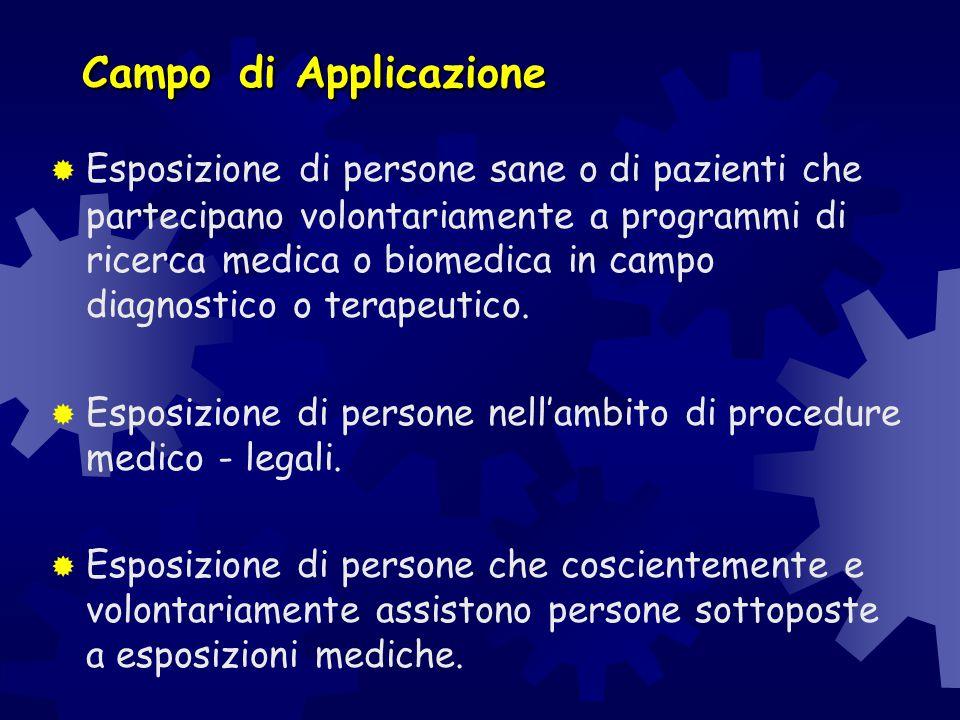 Campodi Applicazione Campo di Applicazione  Esposizione di persone sane o di pazienti che partecipano volontariamente a programmi di ricerca medica o