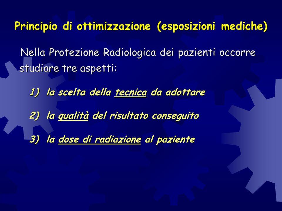 Principio di ottimizzazione (esposizioni mediche) Nella Protezione Radiologica dei pazienti occorre studiare tre aspetti: Nella Protezione Radiologica