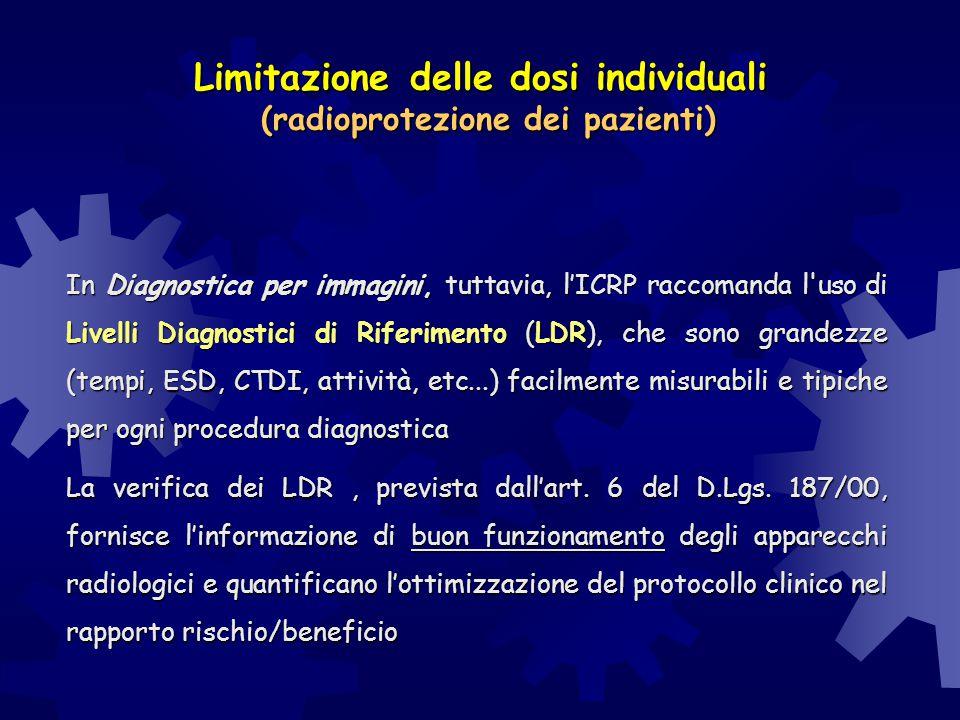 Limitazione delle dosi individuali (radioprotezione dei pazienti) In Diagnostica per immagini, tuttavia, l'ICRP raccomanda l'uso di Livelli Diagnostic