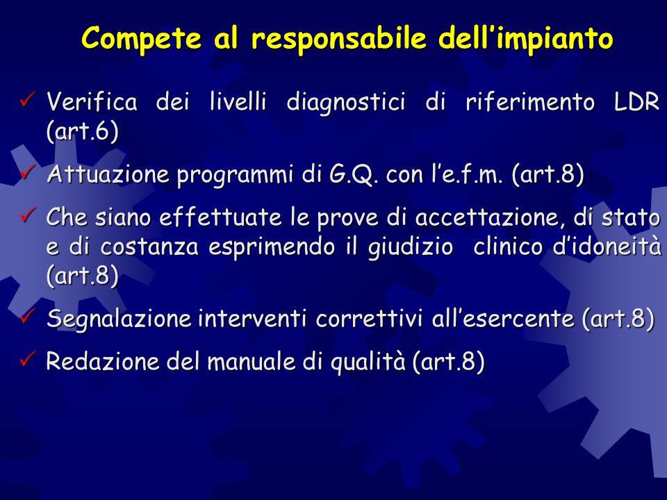 Compete al responsabile dell'impianto  Verifica dei livelli diagnostici di riferimento LDR (art.6)  Attuazione programmi di G.Q. con l'e.f.m. (art.8