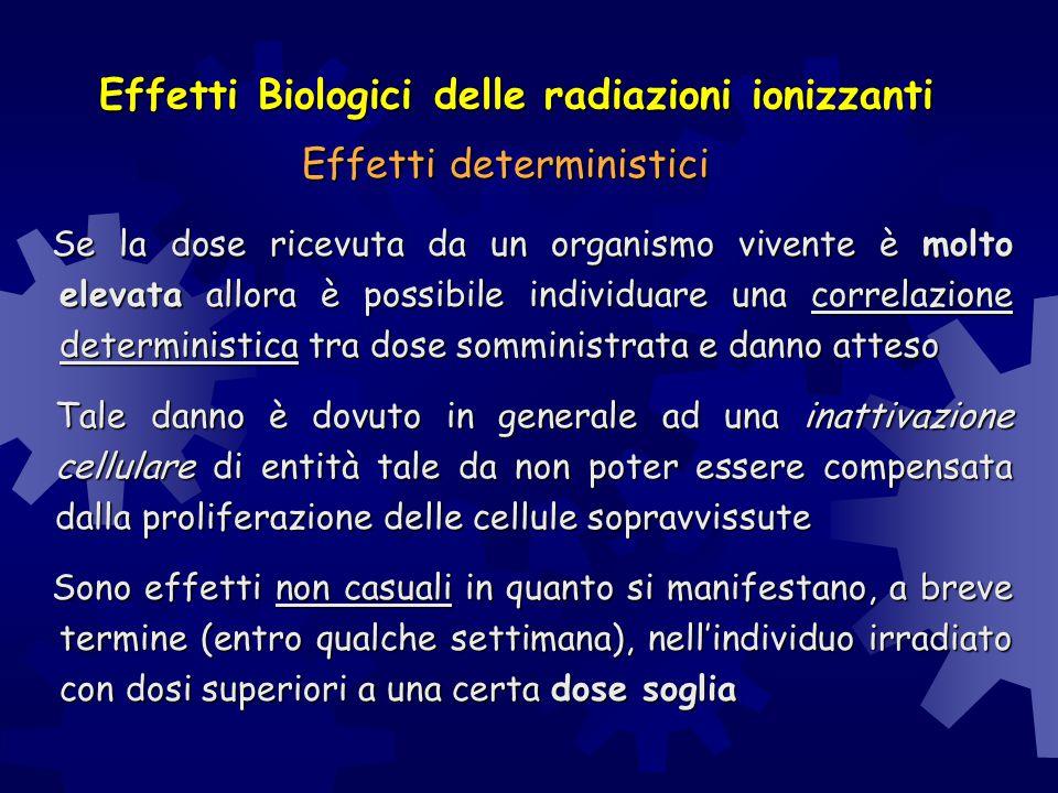 Effetti Biologici delle radiazioni ionizzanti Se la dose ricevuta da un organismo vivente è molto elevata allora è possibile individuare una correlazi