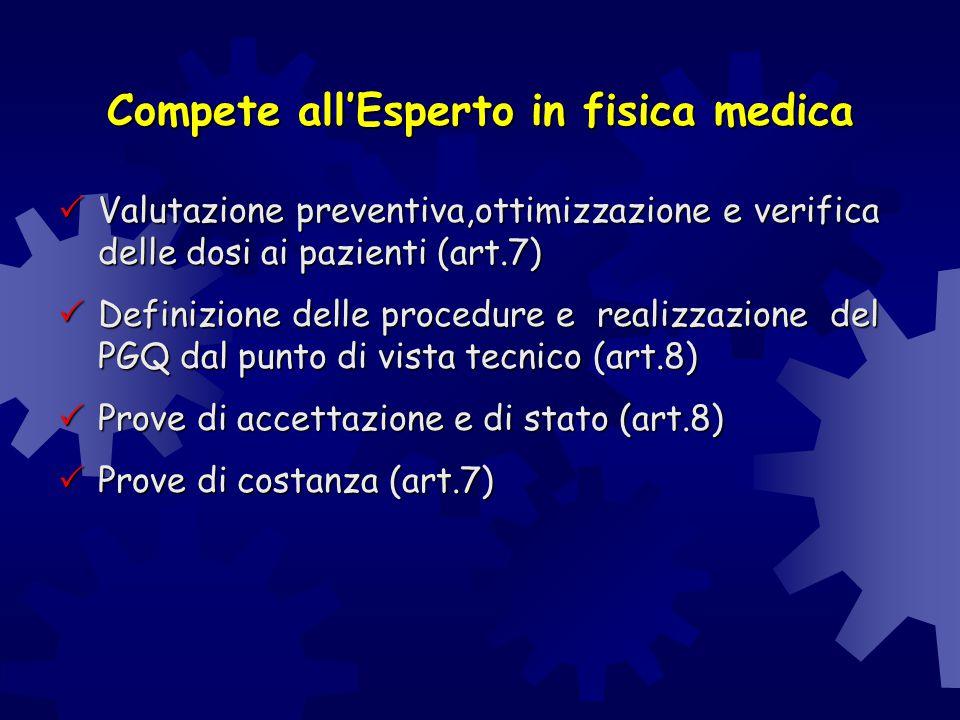 Compete all'Esperto in fisica medica  Valutazione preventiva,ottimizzazione e verifica delle dosi ai pazienti (art.7)  Definizione delle procedure e