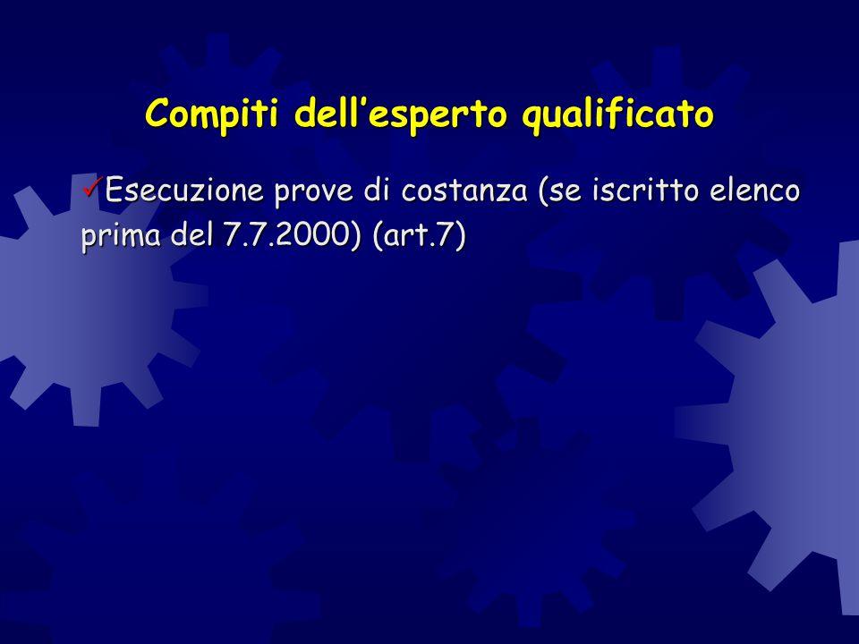  Esecuzione prove di costanza (se iscritto elenco prima del 7.7.2000) (art.7) Compiti dell'esperto qualificato