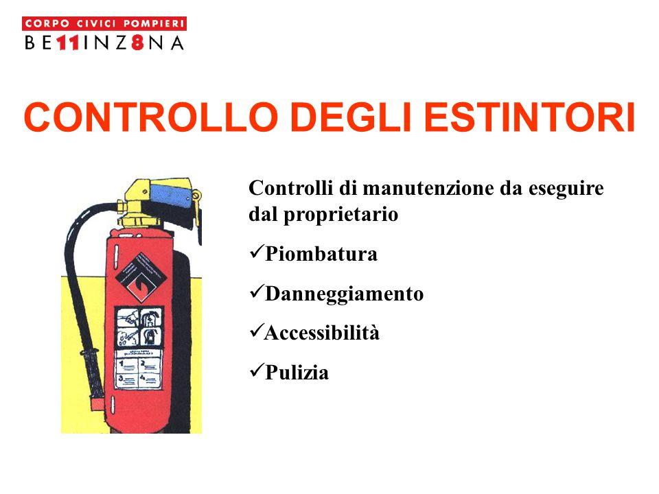CONTROLLO DEGLI ESTINTORI Controlli di manutenzione da eseguire dal proprietario Piombatura Danneggiamento Accessibilità Pulizia