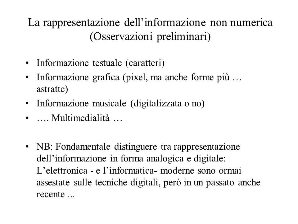 La rappresentazione dell'informazione non numerica (Osservazioni preliminari) Informazione testuale (caratteri) Informazione grafica (pixel, ma anche forme più … astratte) Informazione musicale (digitalizzata o no) ….