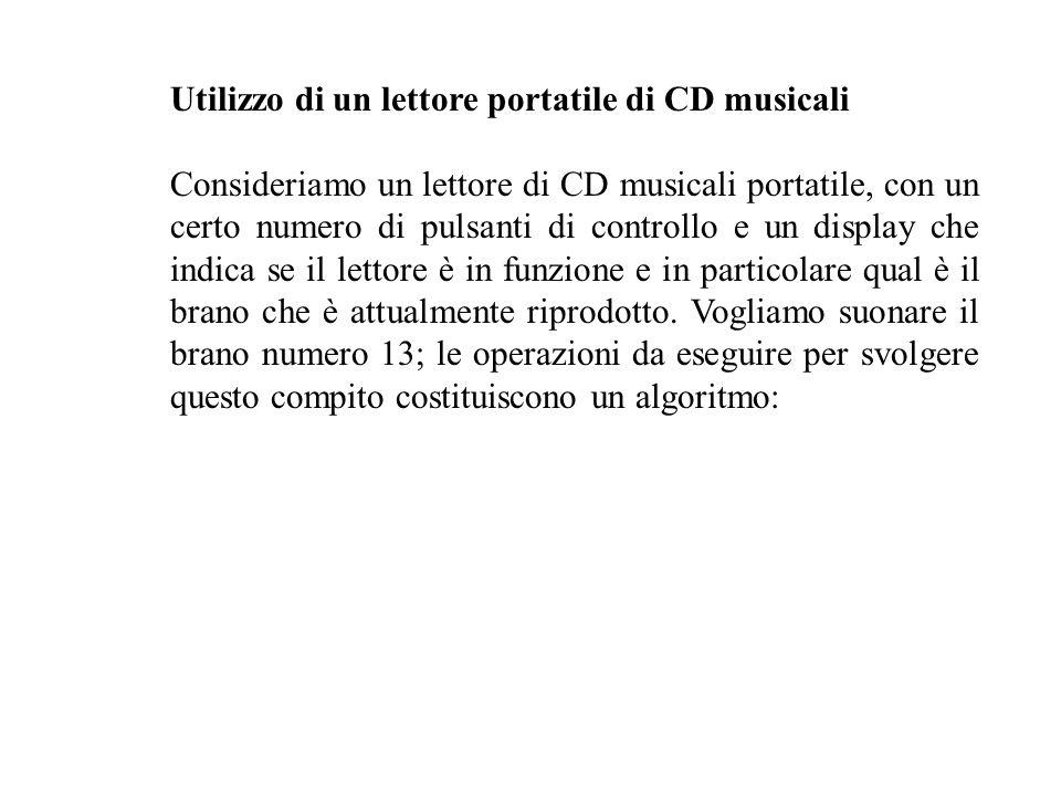 Utilizzo di un lettore portatile di CD musicali Consideriamo un lettore di CD musicali portatile, con un certo numero di pulsanti di controllo e un display che indica se il lettore è in funzione e in particolare qual è il brano che è attualmente riprodotto.