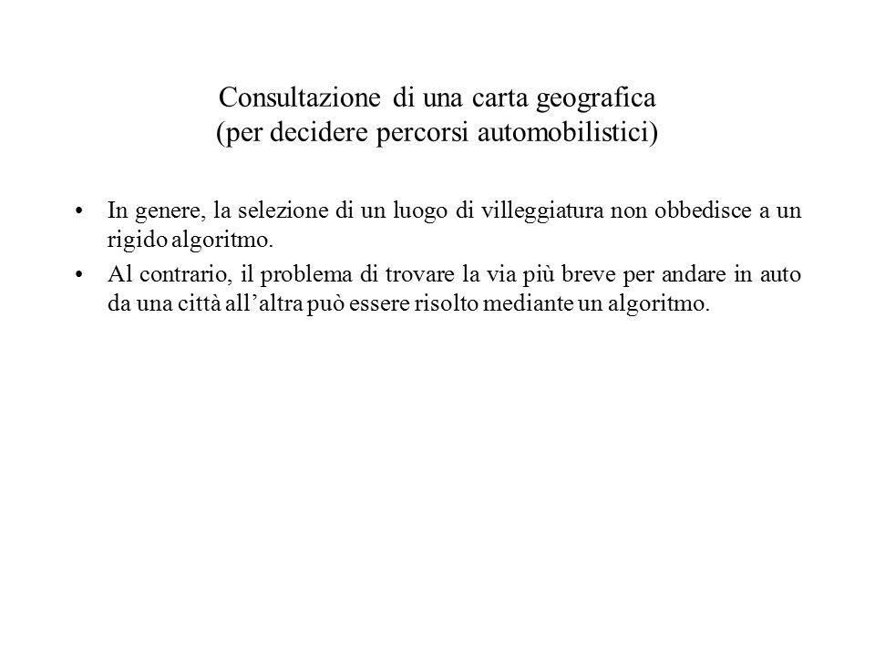 Consultazione di una carta geografica (per decidere percorsi automobilistici) In genere, la selezione di un luogo di villeggiatura non obbedisce a un rigido algoritmo.