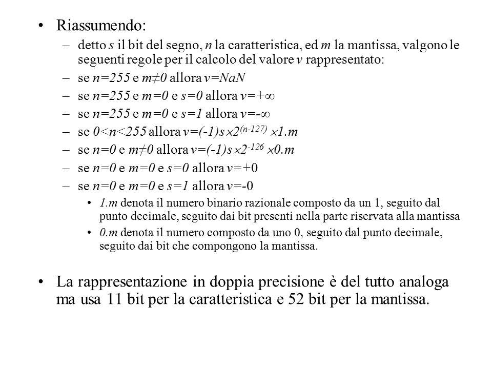 Riassumendo: –detto s il bit del segno, n la caratteristica, ed m la mantissa, valgono le seguenti regole per il calcolo del valore v rappresentato: –se n=255 e m≠0 allora v=NaN –se n=255 e m=0 e s=0 allora v=+∞ –se n=255 e m=0 e s=1 allora v=-∞ –se 0<n<255 allora v=(-1)s  2 (n-127)  1.m –se n=0 e m≠0 allora v=(-1)s  2 -126  0.m –se n=0 e m=0 e s=0 allora v=+0 –se n=0 e m=0 e s=1 allora v=-0 1.m denota il numero binario razionale composto da un 1, seguito dal punto decimale, seguito dai bit presenti nella parte riservata alla mantissa 0.m denota il numero composto da uno 0, seguito dal punto decimale, seguito dai bit che compongono la mantissa.