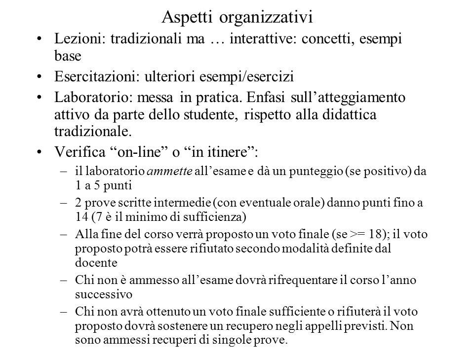 Aspetti organizzativi Lezioni: tradizionali ma … interattive: concetti, esempi base Esercitazioni: ulteriori esempi/esercizi Laboratorio: messa in pratica.