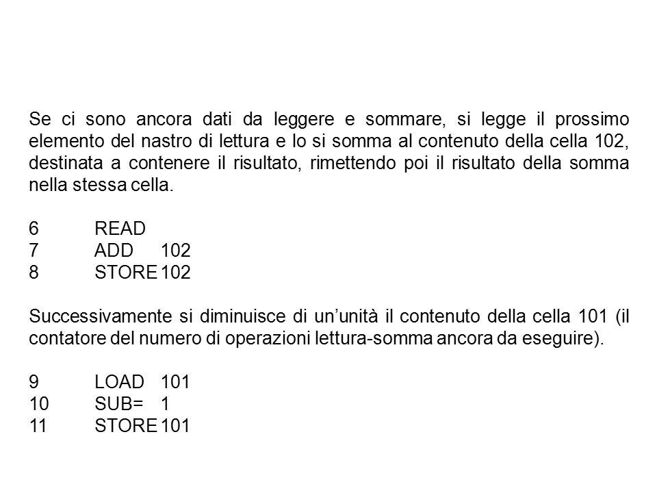 Se ci sono ancora dati da leggere e sommare, si legge il prossimo elemento del nastro di lettura e lo si somma al contenuto della cella 102, destinata a contenere il risultato, rimettendo poi il risultato della somma nella stessa cella.
