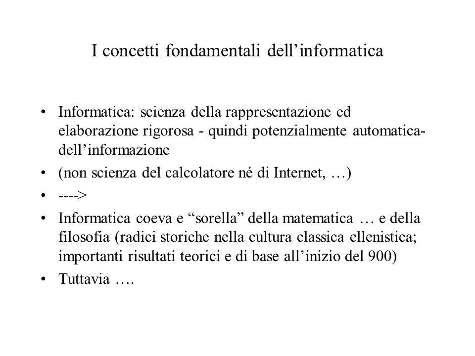 Primi esempi di rappresentazione di informazioni componendo bit Byte: sequenza di 8 bit: ( 00000000, 00000001, 00000010, …, 11111111 ).