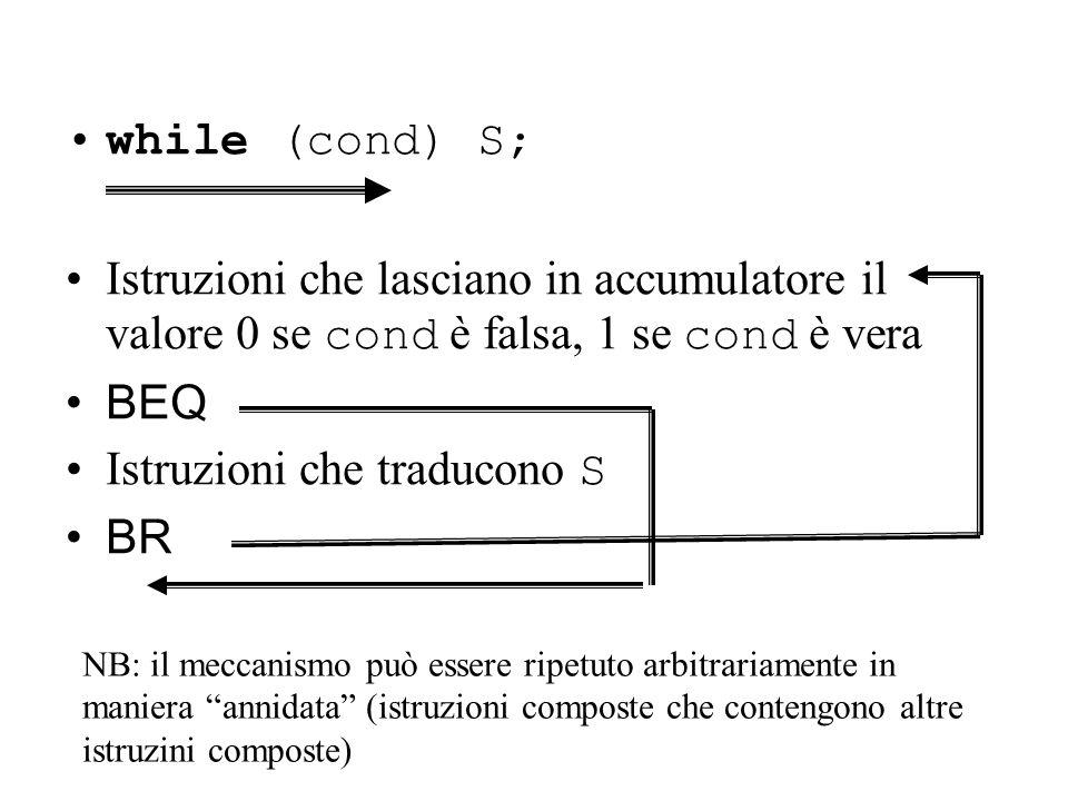 while (cond) S; Istruzioni che lasciano in accumulatore il valore 0 se cond è falsa, 1 se cond è vera BEQ Istruzioni che traducono S BR NB: il meccanismo può essere ripetuto arbitrariamente in maniera annidata (istruzioni composte che contengono altre istruzini composte)