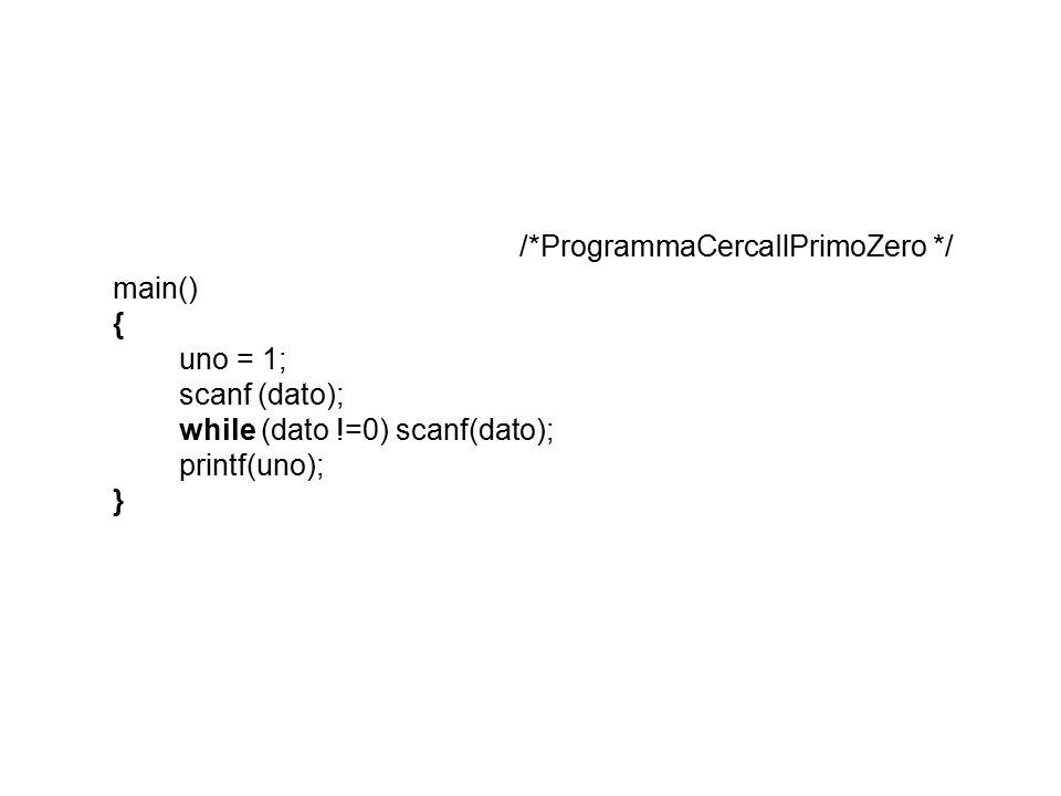 /*ProgrammaCercaIlPrimoZero */ main() { uno = 1; scanf (dato); while (dato !=0) scanf(dato); printf(uno); }
