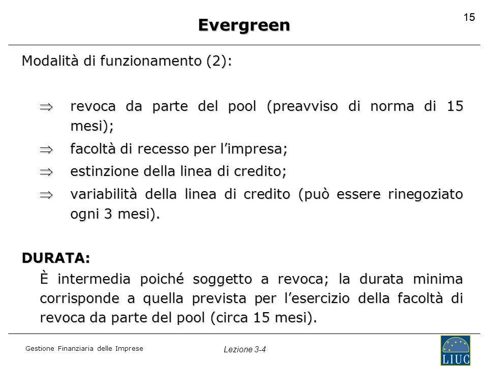 Gestione Finanziaria delle Imprese Lezione 3-4 15 Evergreen Modalità di funzionamento (2): revoca da parte del pool (preavviso di norma di 15 mesi);