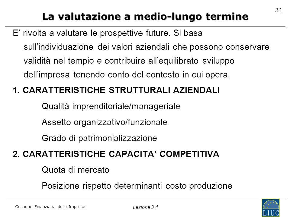 Gestione Finanziaria delle Imprese Lezione 3-4 31 E' rivolta a valutare le prospettive future. Si basa sull'individuazione dei valori aziendali che po