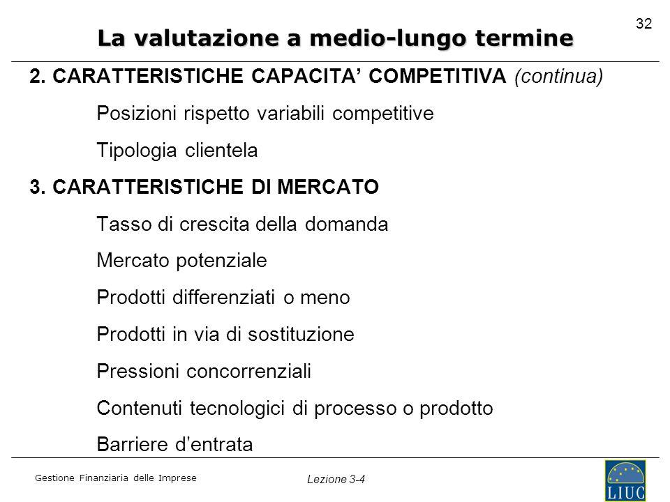 Gestione Finanziaria delle Imprese Lezione 3-4 32 2. CARATTERISTICHE CAPACITA' COMPETITIVA (continua) Posizioni rispetto variabili competitive Tipolog