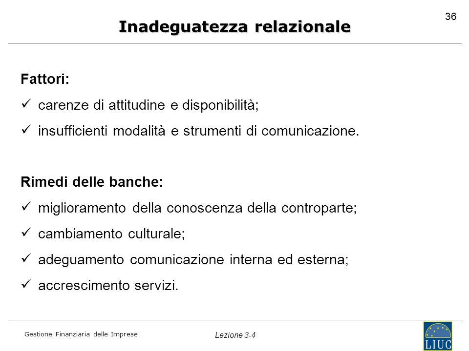 Gestione Finanziaria delle Imprese Lezione 3-4 36 Fattori: carenze di attitudine e disponibilità; insufficienti modalità e strumenti di comunicazione.
