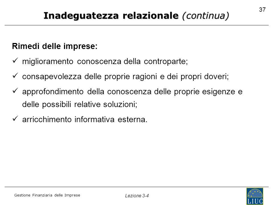 Gestione Finanziaria delle Imprese Lezione 3-4 37 Rimedi delle imprese: miglioramento conoscenza della controparte; consapevolezza delle proprie ragio