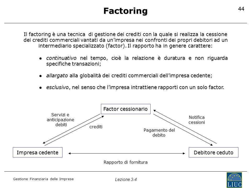 Gestione Finanziaria delle Imprese Lezione 3-4 44 Factoring Il factoring è una tecnica di gestione dei crediti con la quale si realizza la cessione de