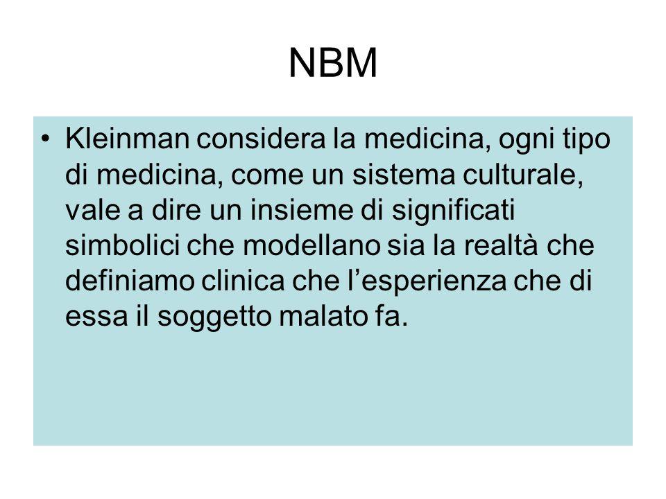 NBM Kleinman considera la medicina, ogni tipo di medicina, come un sistema culturale, vale a dire un insieme di significati simbolici che modellano si
