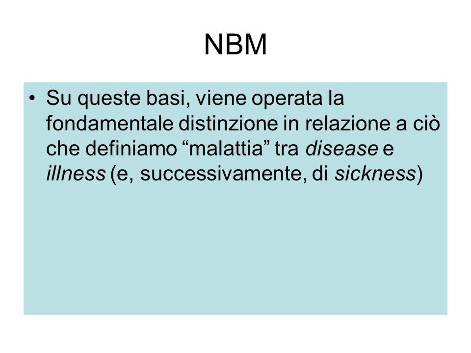 """NBM Su queste basi, viene operata la fondamentale distinzione in relazione a ciò che definiamo """"malattia"""" tra disease e illness (e, successivamente, d"""