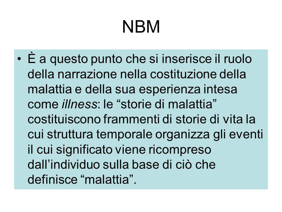 """NBM È a questo punto che si inserisce il ruolo della narrazione nella costituzione della malattia e della sua esperienza intesa come illness: le """"stor"""