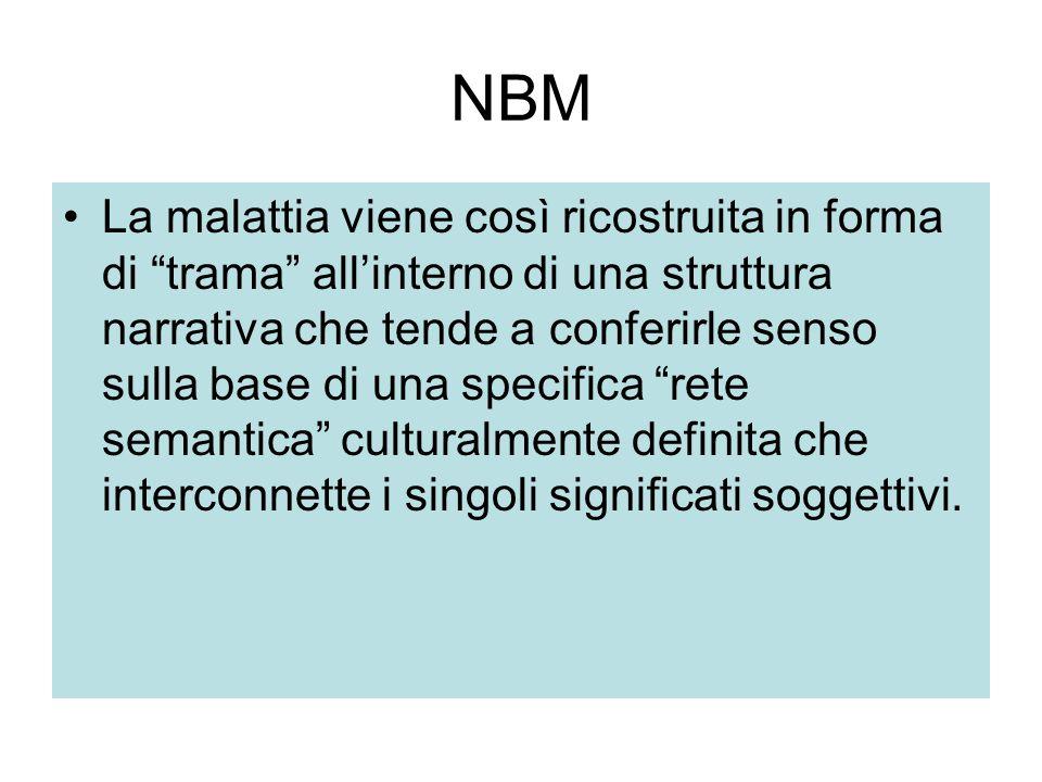 """NBM La malattia viene così ricostruita in forma di """"trama"""" all'interno di una struttura narrativa che tende a conferirle senso sulla base di una speci"""