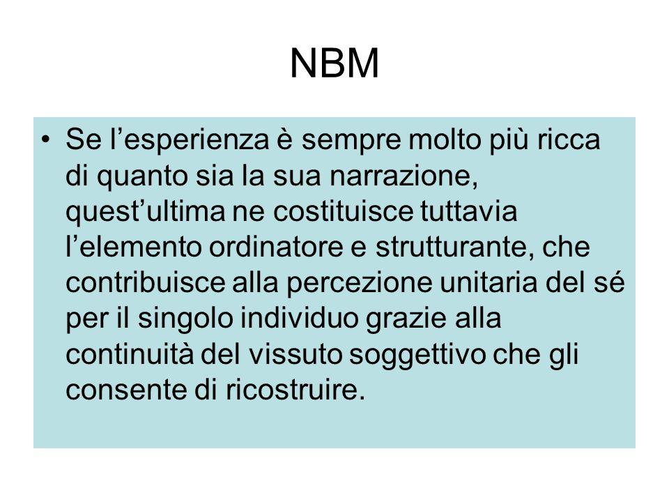 NBM Se l'esperienza è sempre molto più ricca di quanto sia la sua narrazione, quest'ultima ne costituisce tuttavia l'elemento ordinatore e strutturant