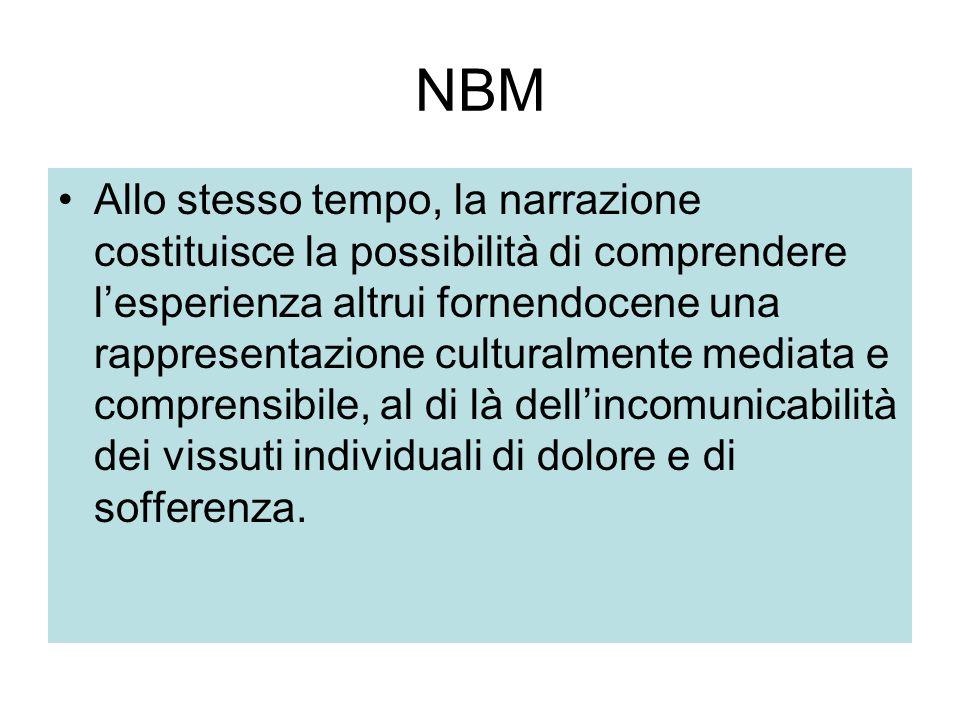 NBM Allo stesso tempo, la narrazione costituisce la possibilità di comprendere l'esperienza altrui fornendocene una rappresentazione culturalmente med