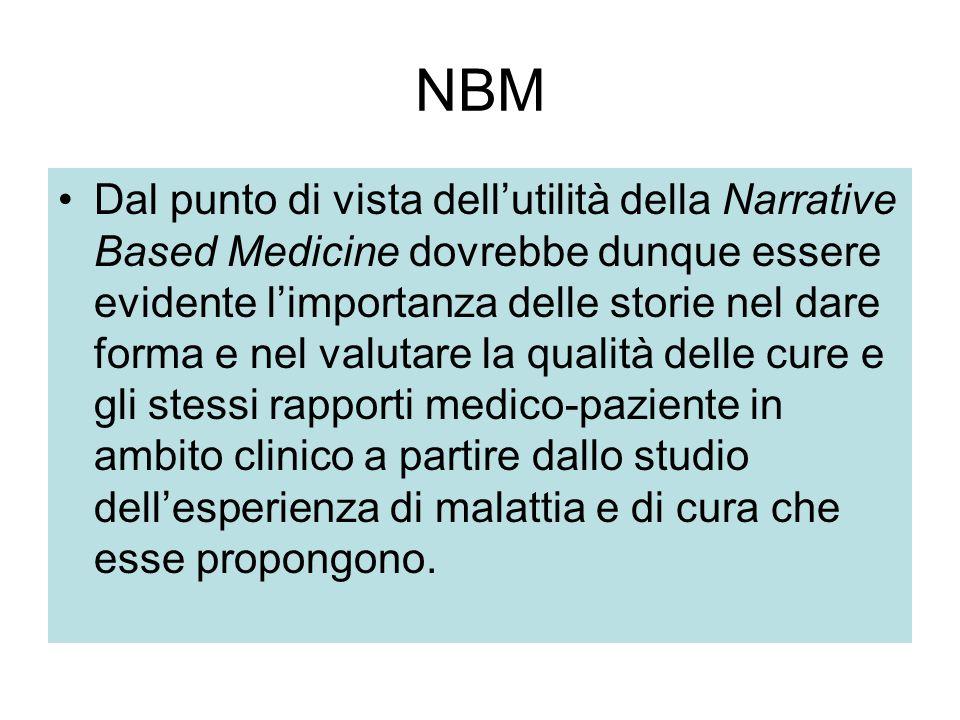 NBM Dal punto di vista dell'utilità della Narrative Based Medicine dovrebbe dunque essere evidente l'importanza delle storie nel dare forma e nel valu