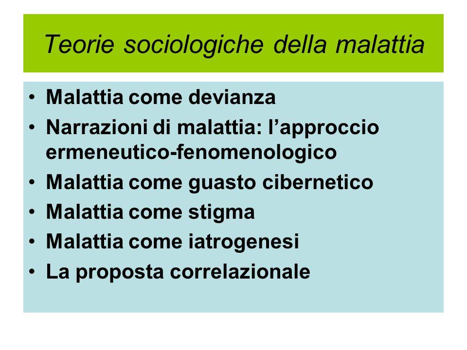 Teorie sociologiche della malattia Malattia come devianza Narrazioni di malattia: l'approccio ermeneutico-fenomenologico Malattia come guasto cibernet