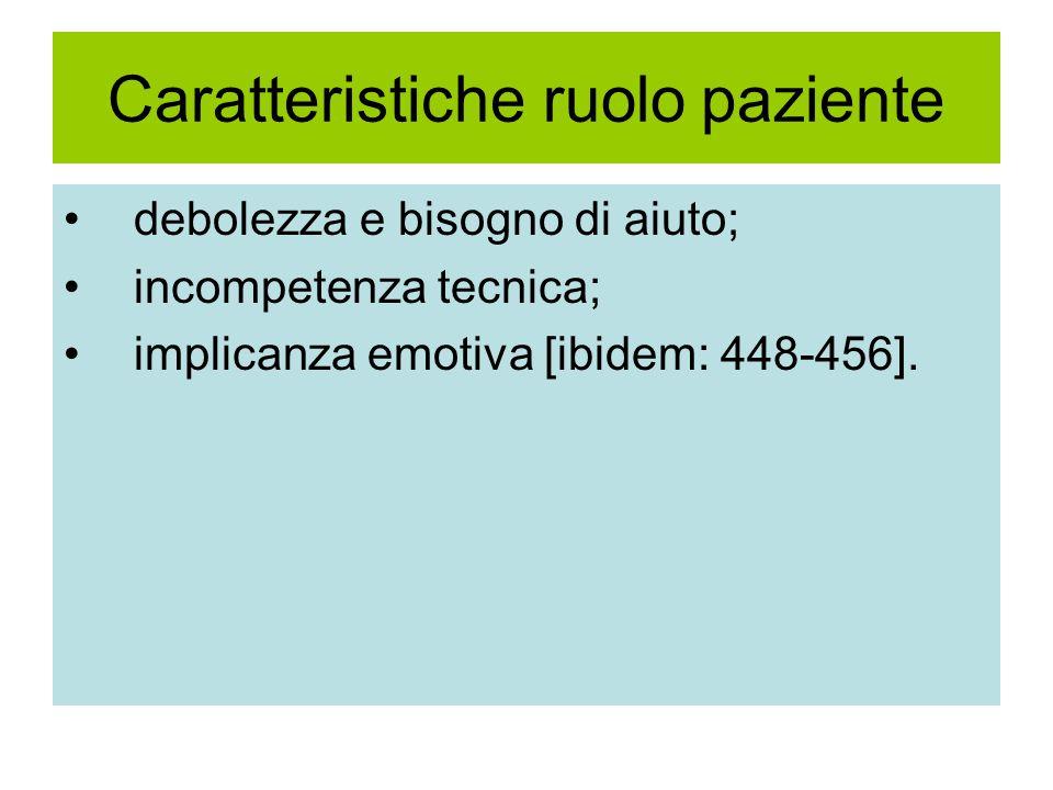 Caratteristiche ruolo paziente debolezza e bisogno di aiuto; incompetenza tecnica; implicanza emotiva [ibidem: 448-456].