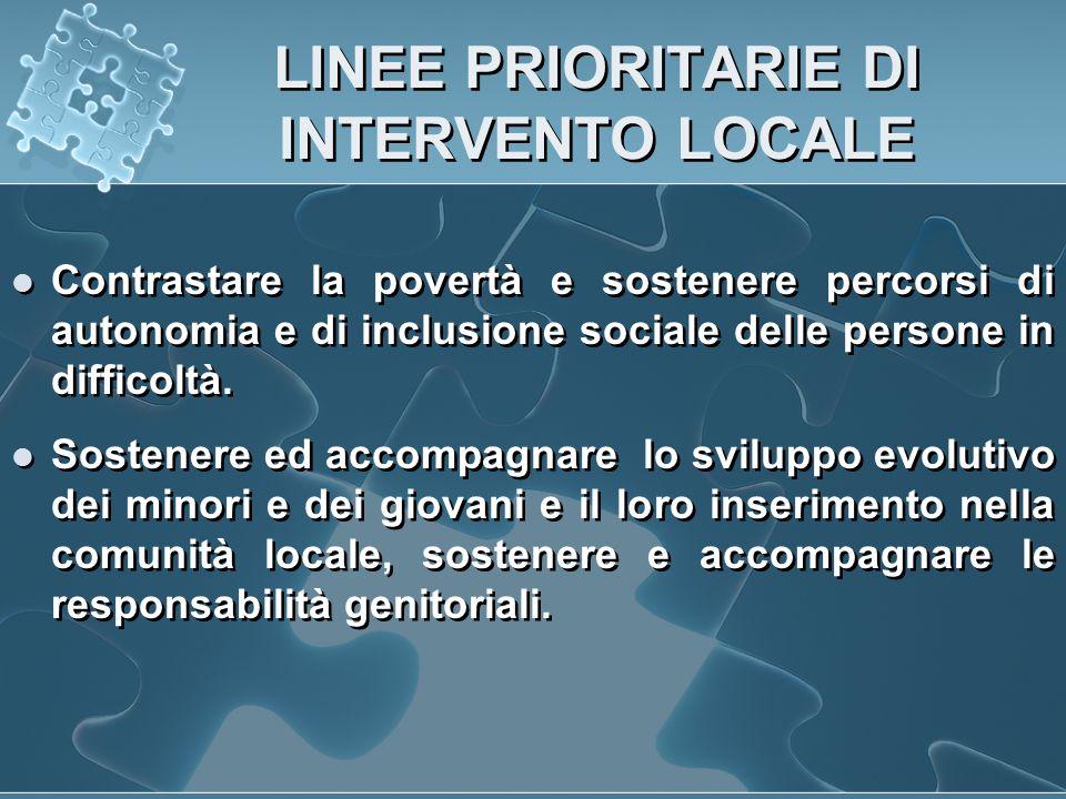 LINEE PRIORITARIE DI INTERVENTO LOCALE Contrastare la povertà e sostenere percorsi di autonomia e di inclusione sociale delle persone in difficoltà.