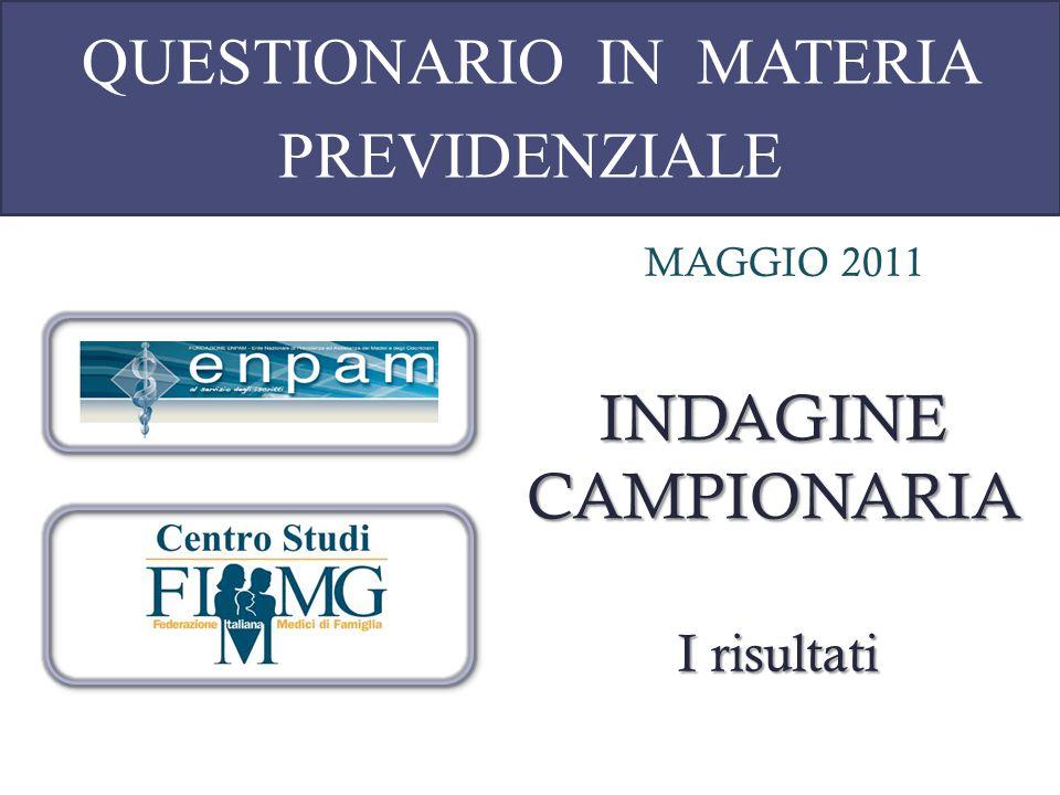 QUESTIONARIO IN MATERIA PREVIDENZIALE MAGGIO 2011 INDAGINE CAMPIONARIA I risultati