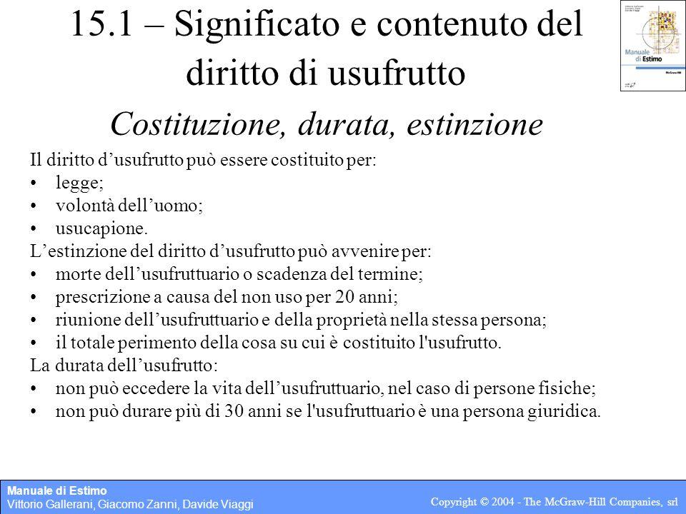 Manuale di Estimo Vittorio Gallerani, Giacomo Zanni, Davide Viaggi Copyright © 2004 - The McGraw-Hill Companies, srl 15.2 - Determinazione del valore del diritto di usufrutto