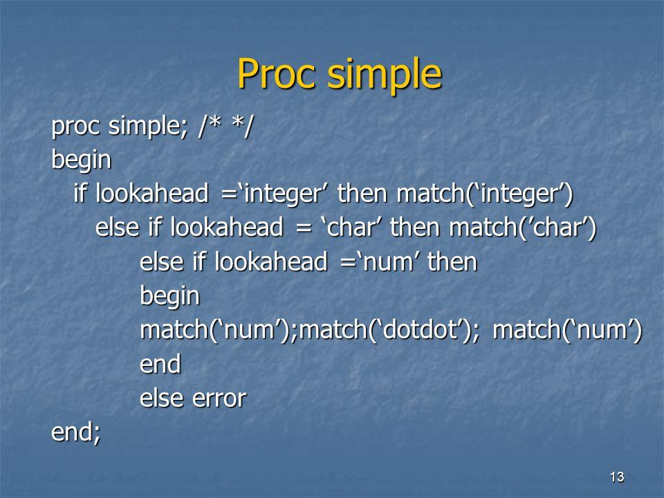 13 Proc simple Proc simple proc simple; /* */ begin if lookahead ='integer' then match('integer') else if lookahead = 'char' then match('char') else i