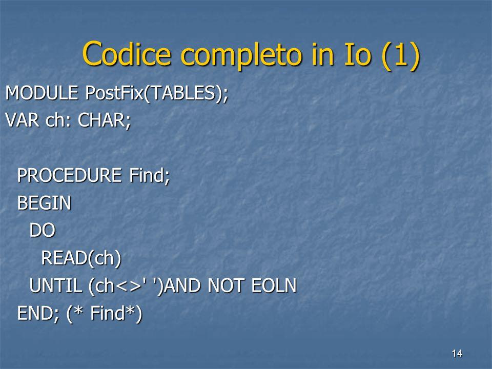 14 C odice completo in Io (1) C odice completo in Io (1) MODULE PostFix(TABLES); VAR ch: CHAR; PROCEDURE Find; PROCEDURE Find; BEGIN BEGIN DO DO READ(