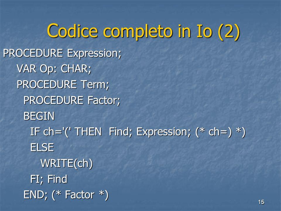 15 C odice completo in Io (2) C odice completo in Io (2) PROCEDURE Expression; VAR Op: CHAR; VAR Op: CHAR; PROCEDURE Term; PROCEDURE Term; PROCEDURE F