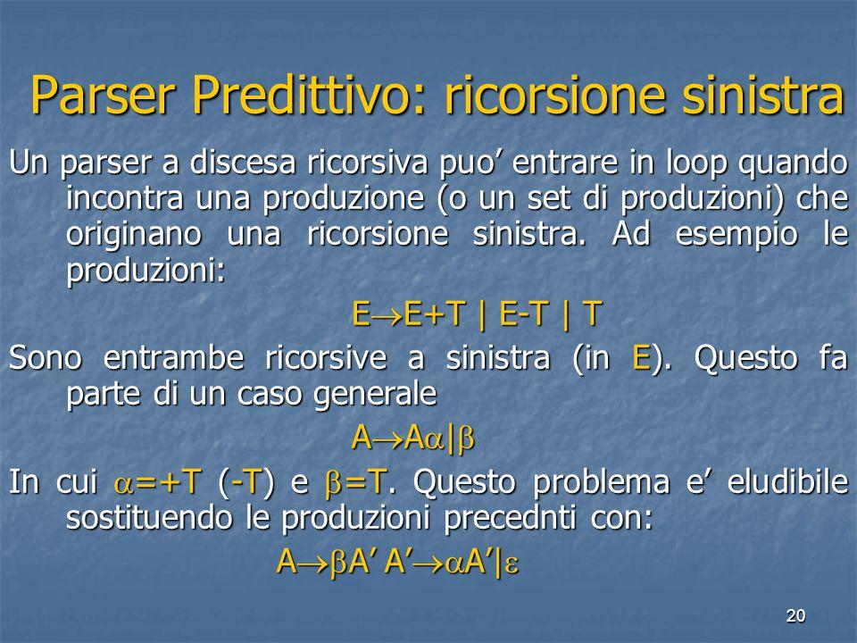 20 Parser Predittivo: ricorsione sinistra Parser Predittivo: ricorsione sinistra Un parser a discesa ricorsiva puo' entrare in loop quando incontra una produzione (o un set di produzioni) che originano una ricorsione sinistra.