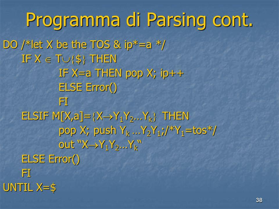 38 Programma di Parsing cont.