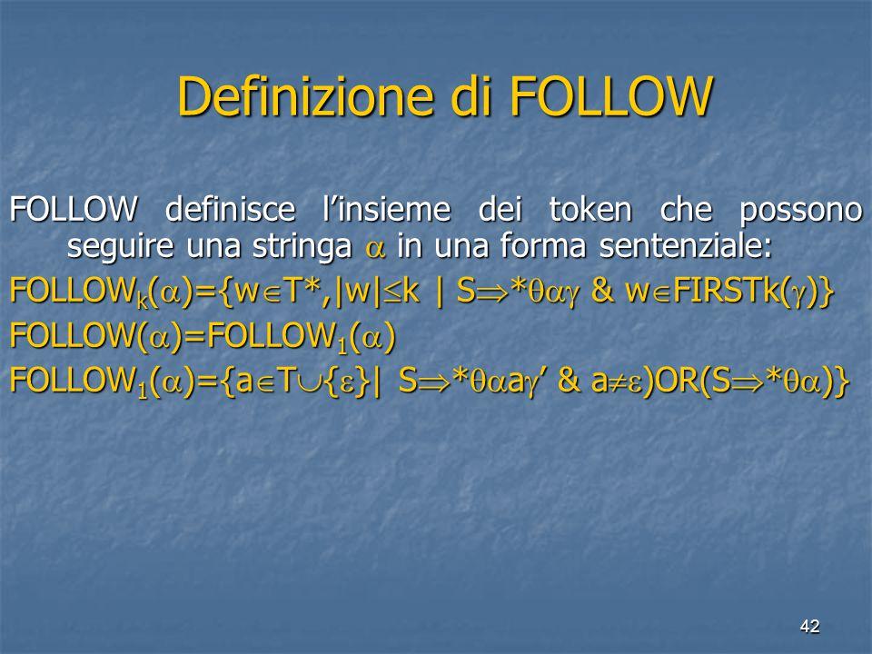 42 Definizione di FOLLOW Definizione di FOLLOW FOLLOW definisce l'insieme dei token che possono seguire una stringa  in una forma sentenziale: FOLLOW k (  )={w  T*,|w|  k | S  *  & w  FIRSTk(  )} FOLLOW(  )=FOLLOW 1 (  ) FOLLOW 1 (  )={a  T  {  }| S  *  a  ' & a  )OR(S  *  )}