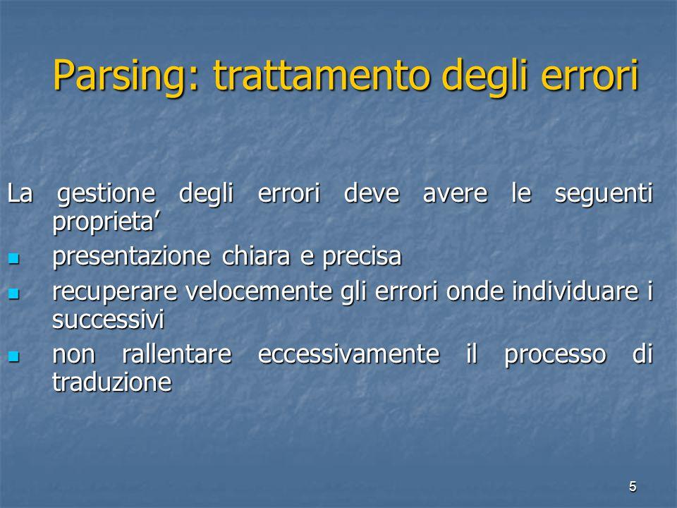 6 Parsing: trattamento degli errori Parsing: trattamento degli errori Le principali strategie di recupero degli errori sono: Panic Mode (dopo ogni errore si esegue una sincronizzazione) Panic Mode (dopo ogni errore si esegue una sincronizzazione) Recovery a Livello di Frase (il parser opera correzioni per continuare l'analisi).