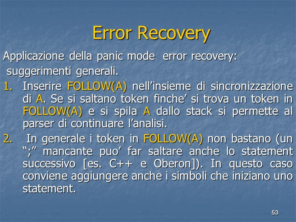 53 Error Recovery Error Recovery Applicazione della panic mode error recovery: suggerimenti generali.