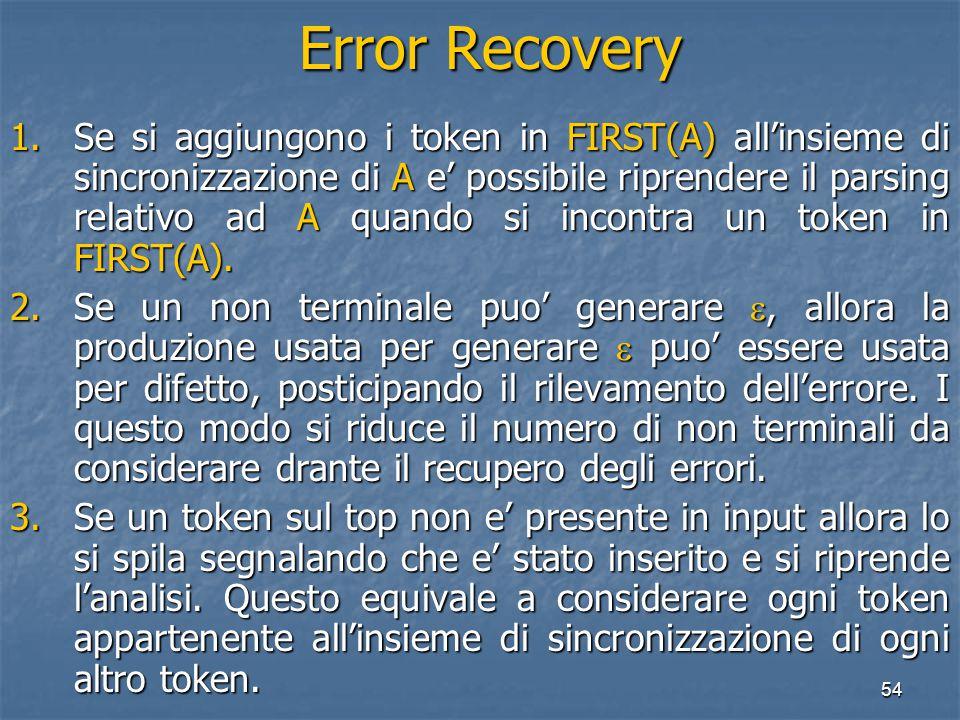 54 Error Recovery Error Recovery 1.Se si aggiungono i token in FIRST(A) all'insieme di sincronizzazione di A e' possibile riprendere il parsing relativo ad A quando si incontra un token in FIRST(A).