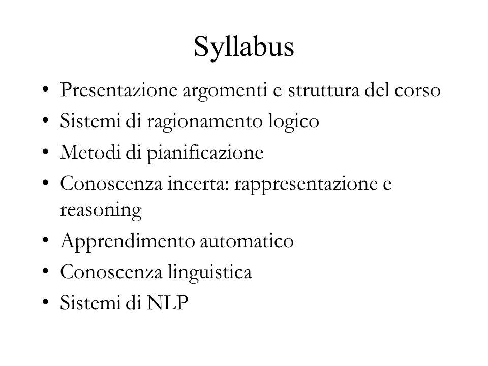 Syllabus Presentazione argomenti e struttura del corso Sistemi di ragionamento logico Metodi di pianificazione Conoscenza incerta: rappresentazione e reasoning Apprendimento automatico Conoscenza linguistica Sistemi di NLP