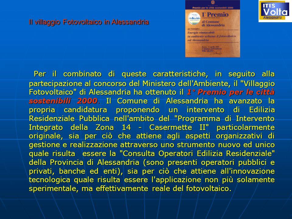 Per il combinato di queste caratteristiche, in seguito alla partecipazione al concorso del Ministero dell Ambiente, il Villaggio Fotovoltaico di Alessandria ha ottenuto il 1° Premio per le città sostenibili 2000.