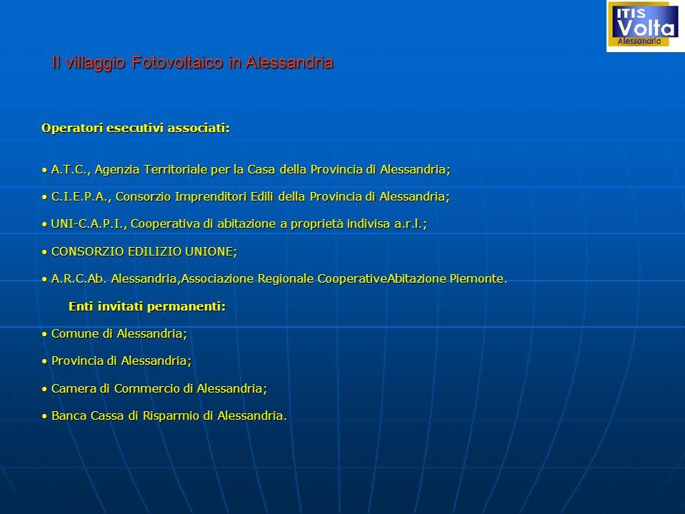 Operatori esecutivi associati: A.T.C., Agenzia Territoriale per la Casa della Provincia di Alessandria; A.T.C., Agenzia Territoriale per la Casa della Provincia di Alessandria; C.I.E.P.A., Consorzio Imprenditori Edili della Provincia di Alessandria; C.I.E.P.A., Consorzio Imprenditori Edili della Provincia di Alessandria; UNI-C.A.P.I., Cooperativa di abitazione a proprietà indivisa a.r.l.; UNI-C.A.P.I., Cooperativa di abitazione a proprietà indivisa a.r.l.; CONSORZIO EDILIZIO UNIONE; CONSORZIO EDILIZIO UNIONE; A.R.C.Ab.