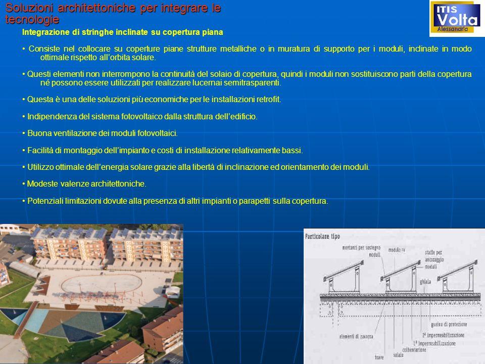 Soluzioni architettoniche per integrare le tecnologie Integrazione di stringhe inclinate su copertura piana Consiste nel collocare su coperture piane strutture metalliche o in muratura di supporto per i moduli, inclinate in modo ottimale rispetto all'orbita solare.